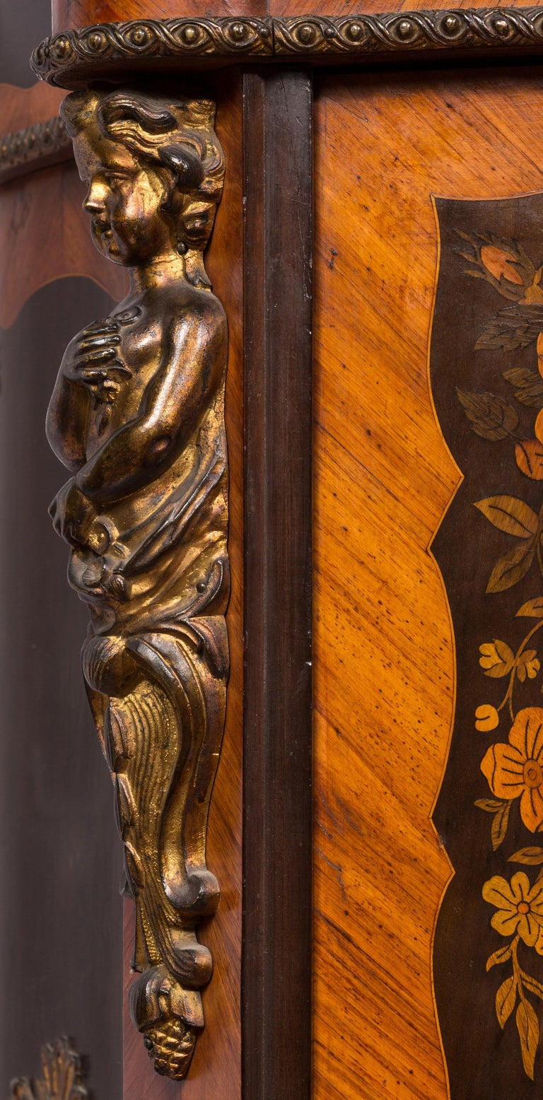 Matched Pair of 19th Century Louis XVI Style Floral Marquetry Side Cabinets For Sale 1