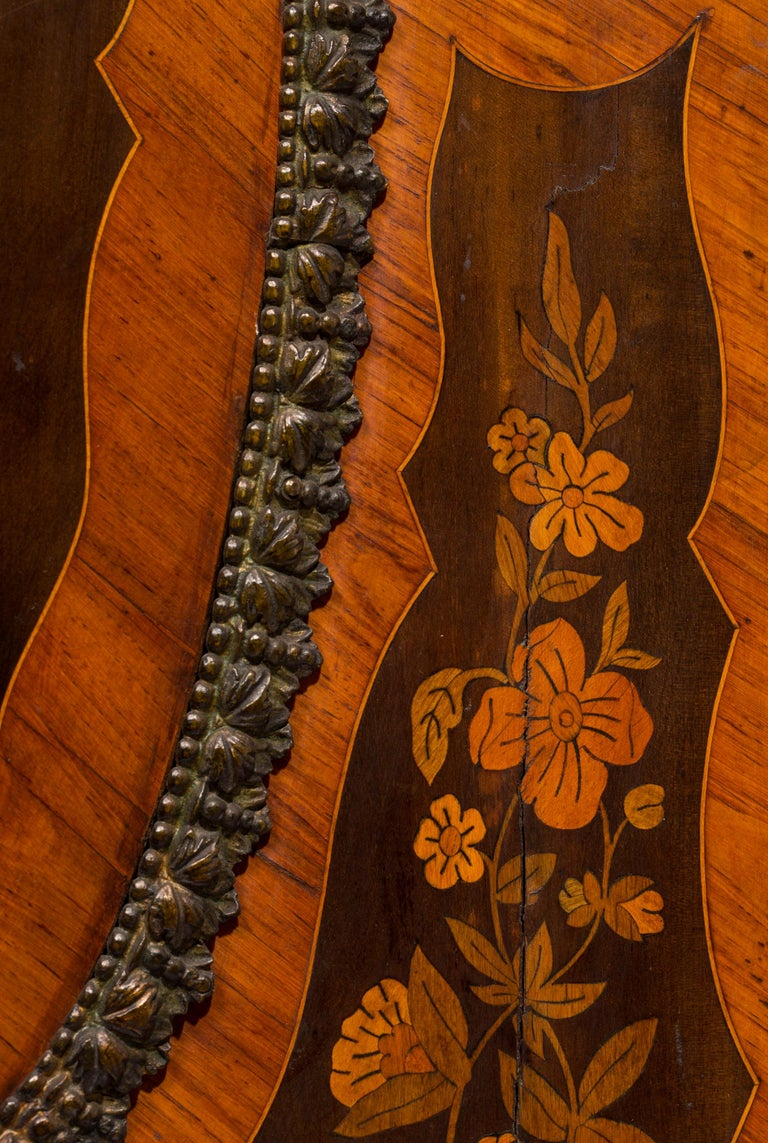 Matched Pair of 19th Century Louis XVI Style Floral Marquetry Side Cabinets For Sale 2