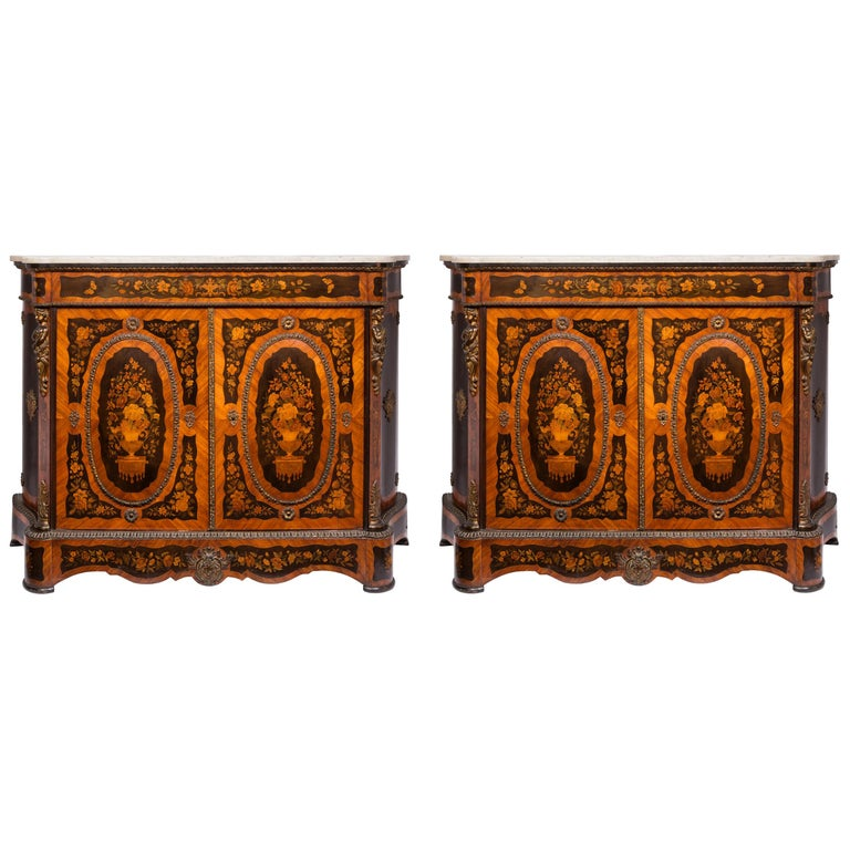 Matched Pair of 19th Century Louis XVI Style Floral Marquetry Side Cabinets For Sale