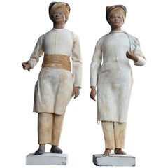 Matched Pair of 19th Century Terracotta Indian Souvenir Figures