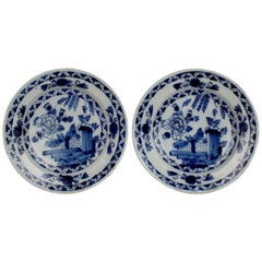 Matched Pair of Antique Dutch Delft Pottery Chinoiserie Chargers or Wall Plates