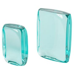 Matched Pair of Aquamarine Glass Picture Frames by Fontana Arte, Italy, 1950