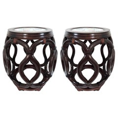 Matched Pair of Asian Rosewood Porcelain Top Garden Seats by George Zee