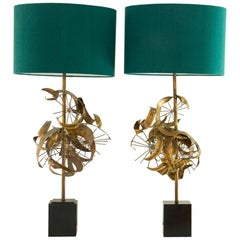 Matched Pair of Brutalist Metal Lamps by Laurel, 1960s