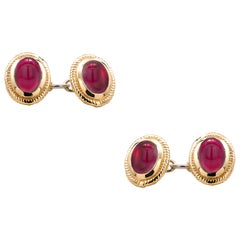 Matched Pair of Cabochon Ruby Double Sides Chain Link Cufflinks