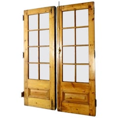 Matched Pair of circa 1910 Solid Pine French Doors
