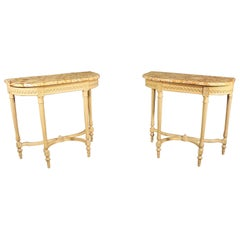Matched Pair of Creme Maison Jansen Carved Marble Top Demilune Console Tables