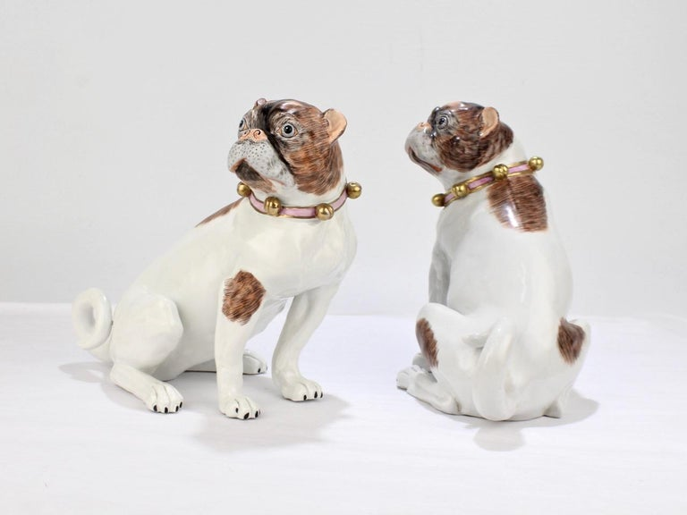 Matched Pair Of Dresden Porcelain Pug Dog Figurines At 1stdibs
