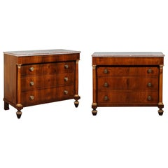Matched Pair of Early 19th Century Italian Empire Walnut Commodes