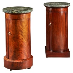 Matched Pair of Empire Mahogany Pedestal Cupboards with Green Marble Tops