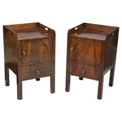 Matched Pair of English George III Brown Mahogany Night Cabinets