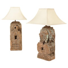 Matched Pair of Indian Hardwood Carved Architectural Fragment Table Lamps