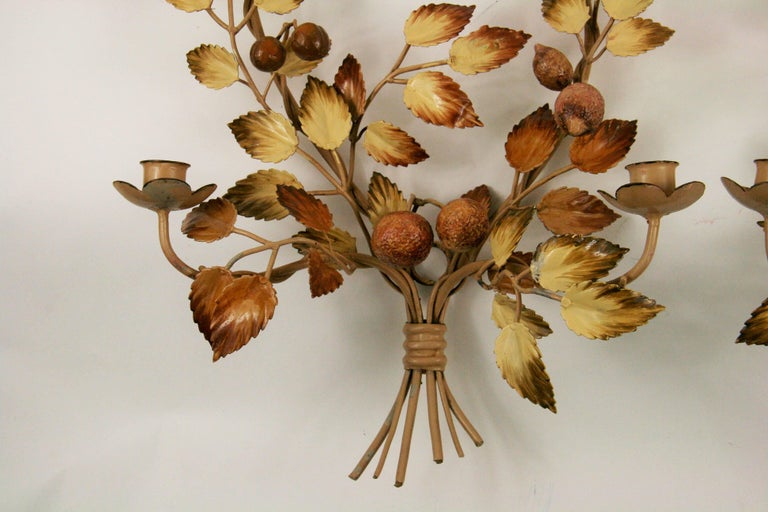 Mid-20th Century Matched Pair of Italian Mid Century  Tole Candle Sconces For Sale