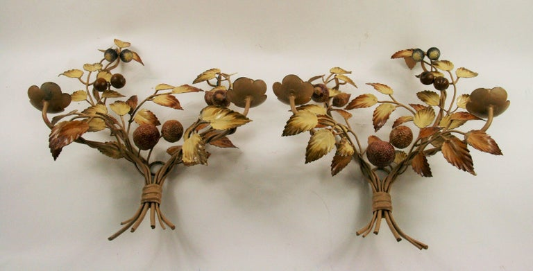 Metal Matched Pair of Italian Mid Century  Tole Candle Sconces For Sale