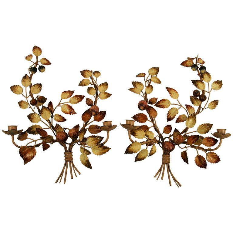 Matched Pair of Italian Mid Century  Tole Candle Sconces For Sale
