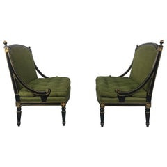 Matched Pair of Louis XV Style Lacquered and Gilt Settee's, Loveseats