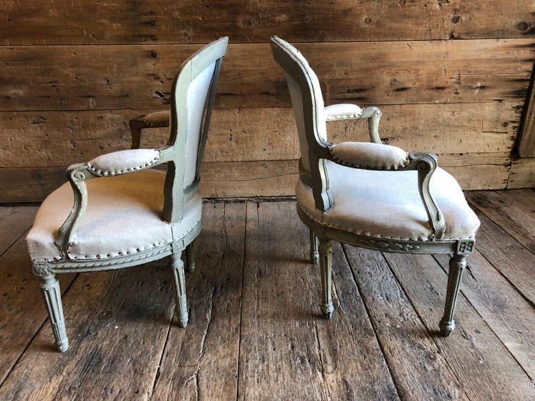 Matched Pair of Louis XVI Armchairs, 1780s For Sale 4