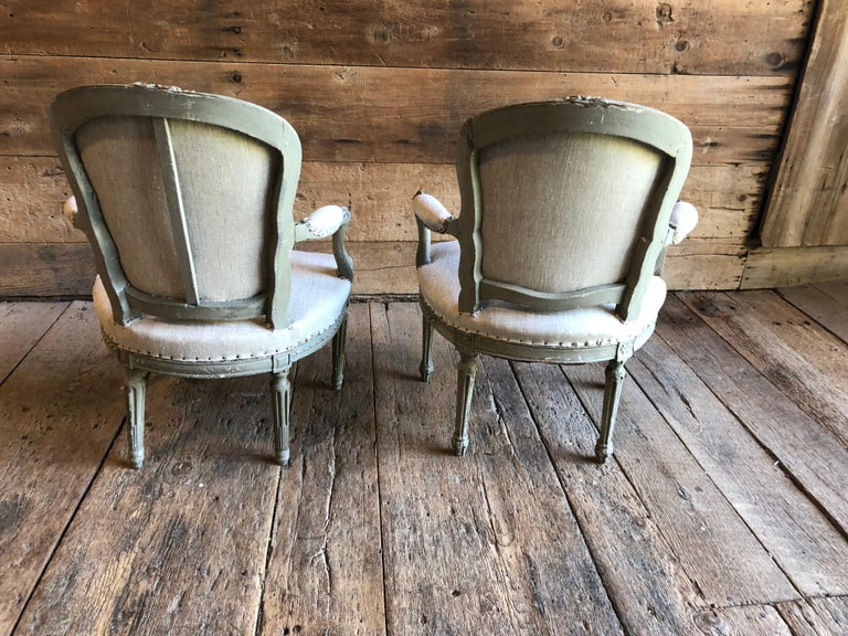 Matched Pair of Louis XVI Armchairs, 1780s For Sale 5