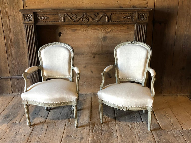 Matched Pair of Louis XVI Armchairs, 1780s For Sale 8
