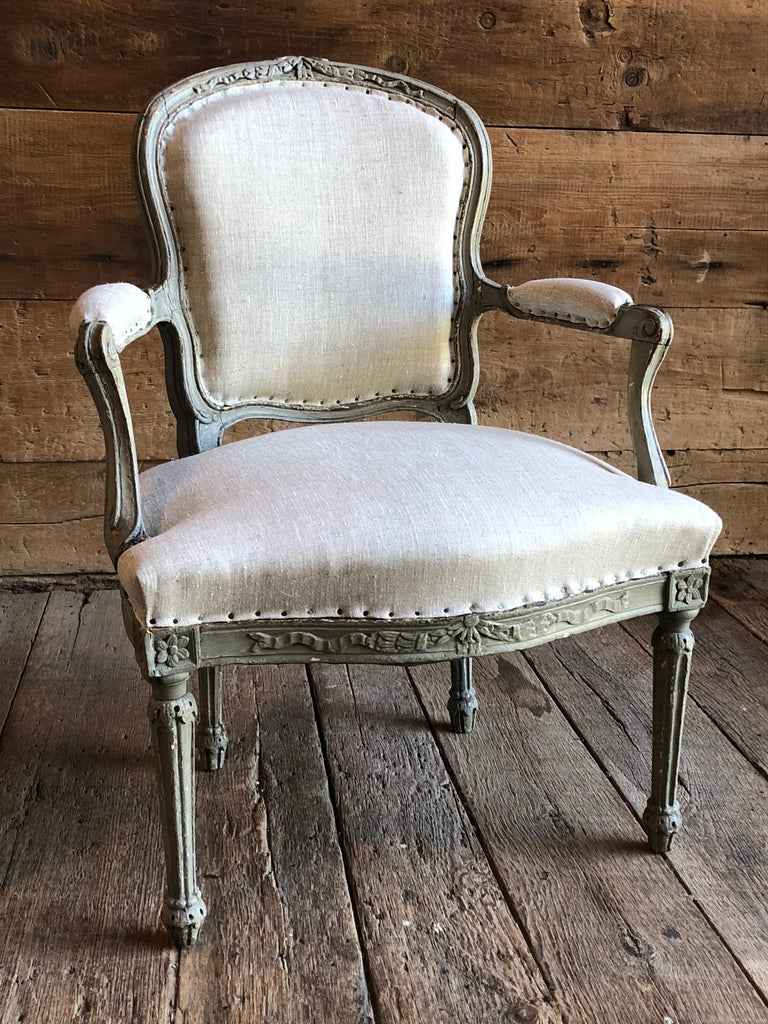 Painted Matched Pair of Louis XVI Armchairs, 1780s For Sale