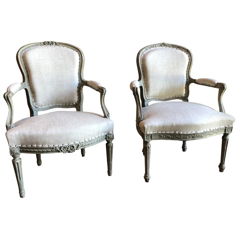 Matched Pair of Louis XVI Armchairs, 1780s For Sale