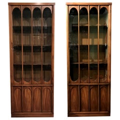 Matched Pair of Mahogany Midcentury China Cabinets or Bookcases
