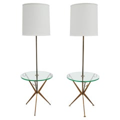 Matched Pair of Modernist Floor Lamp Tables Attributed to Paul McCobb
