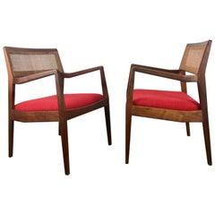 Matched Pair of Modernist Jens Risom Walnut and Caned Back Lounge Chair