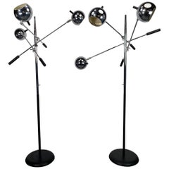 Matched Pair of Robert Sonneman Triennale Eyegball Orbiter Floor Lamps
