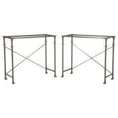 Matched Pair of Stainless Steel and Solid Bronze Console Tables in Any Size