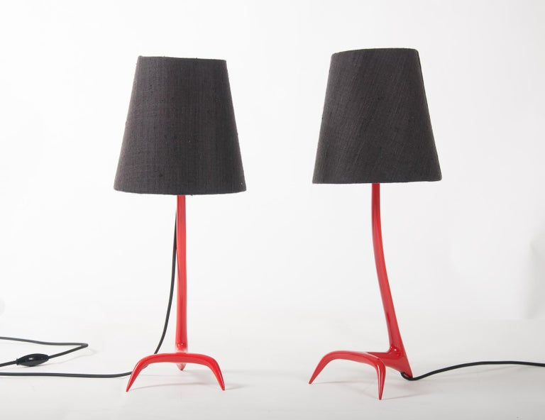French Matched Pair of Stockholm Table Lamps by Maison Charles For Sale