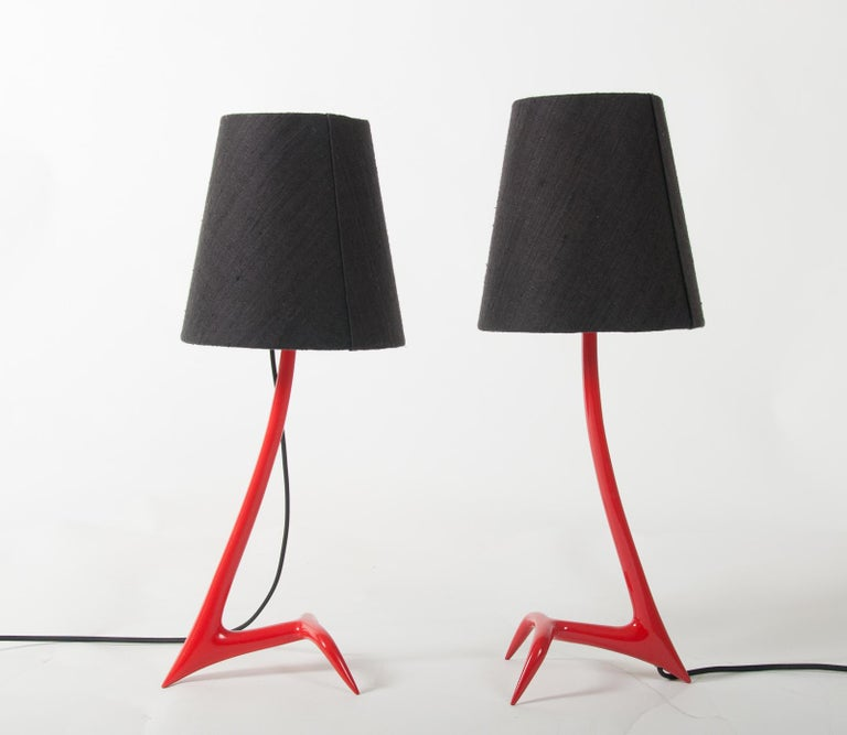 Matched Pair of Stockholm Table Lamps by Maison Charles For Sale 1
