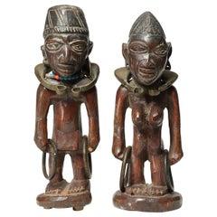 "Matched Pair of Tribal Yoruba Ibeji ""Twin"" Figures, Male/Female with Bracelets"