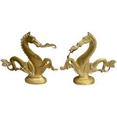 Matched Pair of Venetian Brass Gondola Seahorses