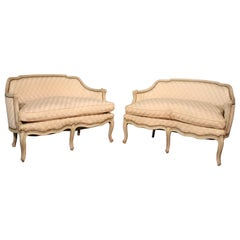 Matched Pair of White Distressed Painted Louis XV Canapes Settees Loveseats