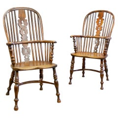Matched Pair of Yew Wood Arm Chairs