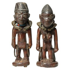 Matched Pair of Yoruba Wood Twin Figures, Male/Female with Bracelets