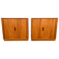 Matched Pair Teak Tambour Door Cabinets / Servers Made in Denmark