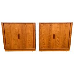 Matched Pair Teak Tambour Door Cabinets / Servers Made in Denmark