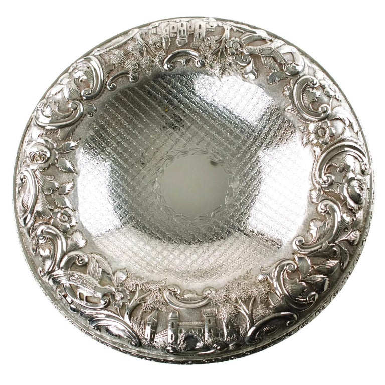 Matched Schofield Baltimore Silversmiths Sterling Silver Tazzas Castle Landscape For Sale 4