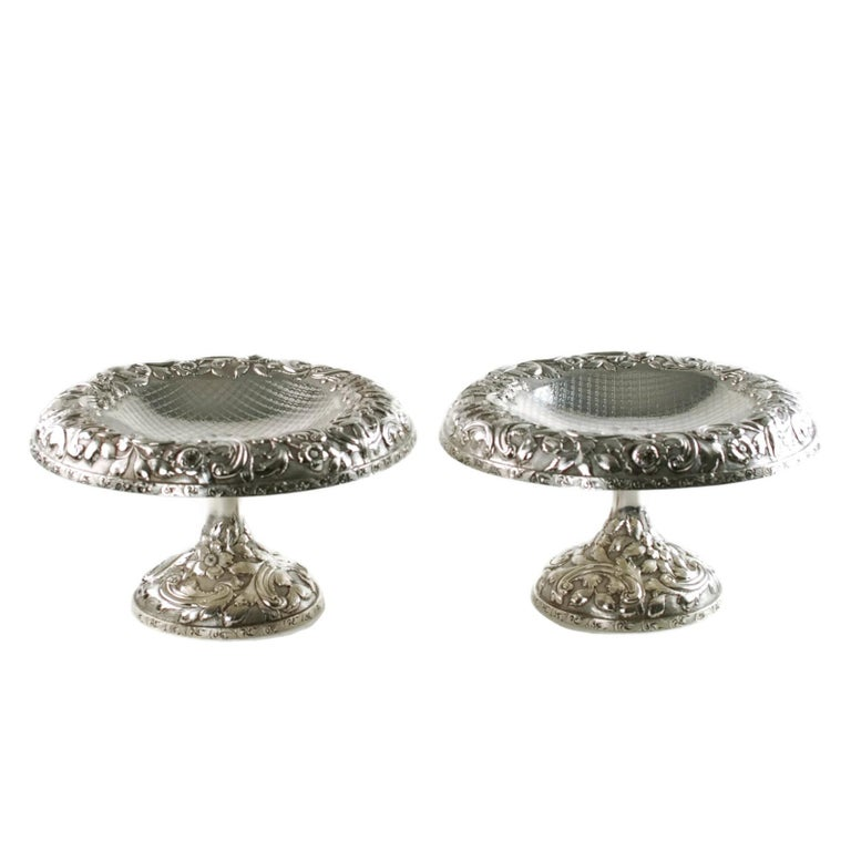 Victorian Matched Schofield Baltimore Silversmiths Sterling Silver Tazzas Castle Landscape For Sale