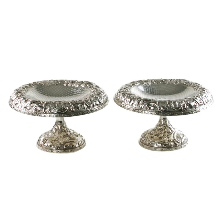 American Matched Schofield Baltimore Silversmiths Sterling Silver Tazzas Castle Landscape For Sale