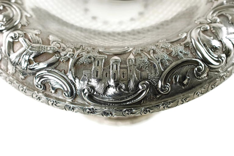 20th Century Matched Schofield Baltimore Silversmiths Sterling Silver Tazzas Castle Landscape For Sale