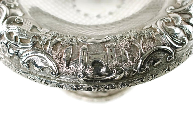 Matched Schofield Baltimore Silversmiths Sterling Silver Tazzas Castle Landscape For Sale 2