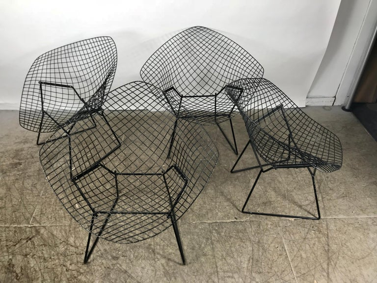 Matched Set Of 4 Midcentury Bertoia Diamond Chairs Knoll For Sale