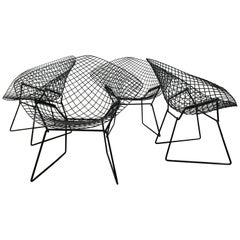 Matched Set of 4 Midcentury Bertoia Diamond Chairs, Knoll