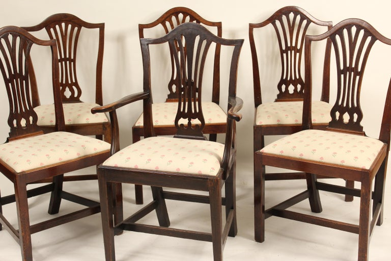 Matched set of 6 antique George III style dining room chairs, 5 side chairs and one armchair, early 19th century. The armchair is oak, one side chair is elm the other 4 side chairs are mahogany. All chairs have nice old color. The armchair measures,