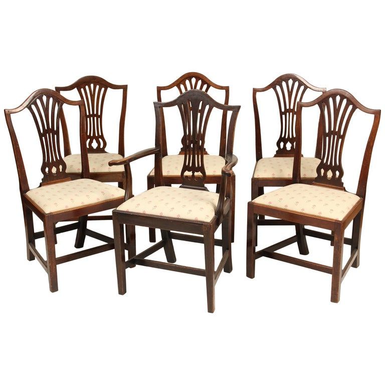 Matched Set of 6 Antique George III Style Dining Room Chairs For Sale
