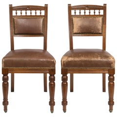 Matched Pair Victorian Style Chocolate Brown Leather Upholstered Dining Chairs