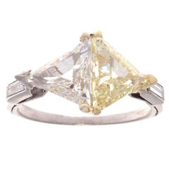 Matching 1.40 Carat GIA Triangular Step Cut Diamond Platinum Ring